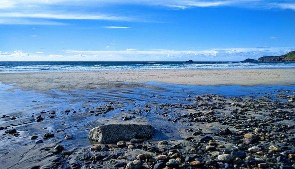 Sea, Clouds, Seascape, Pebbles, Beach, Cornwall