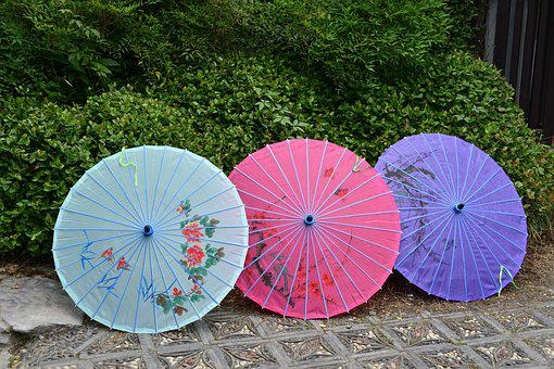 Umbrella, China, Pieces, Asia, Style, Paper