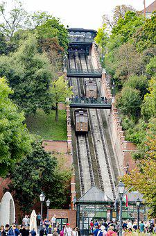 Train, Budapest, Hungary, Cityscape, Cable, Road, Go Up