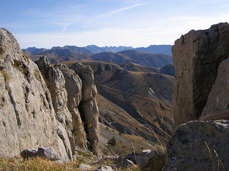 Alpes-maritimes, Ascent Of The Mont Mounier, View Off