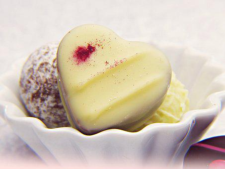 Praline, White Chocolate, Heart, Sugar, Sweet, Gift