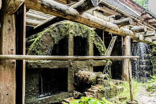 Water Mill, Water, Wooden Mill