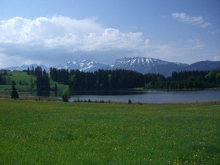 Koeglweiher, Allgäu, Mountain Panorama
