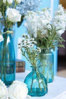 White, Blue, Flowers, Bottles, Roses, Carnation