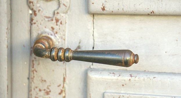 Handle, Door Handle, Door, City, Metal, Wood, Entée