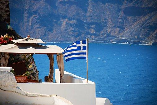 Santorini, Greece, Flag, Greek, Island, Travel, Oia