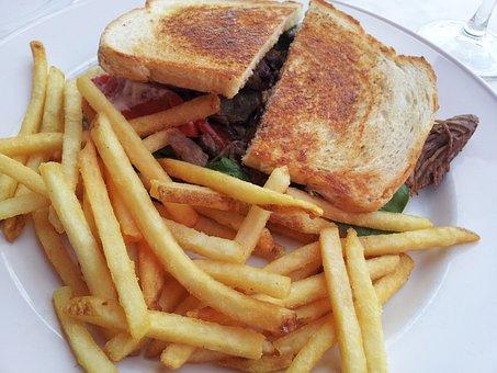 Sandwich, Lunch, Food, Fries, Brown Sandwich