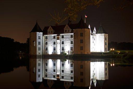 Castle, Glücksburg, Moated Castle, Mirroring