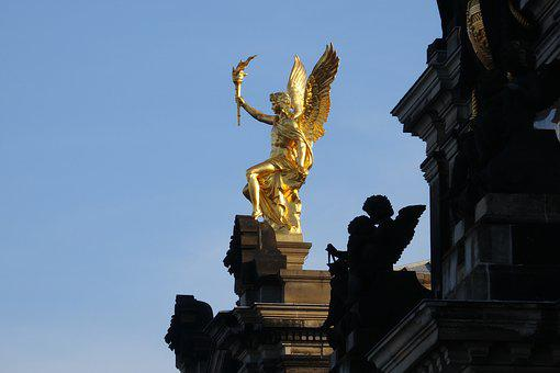 Dresden, Academy Of Fine Arts, Golden, Angel, Saxony