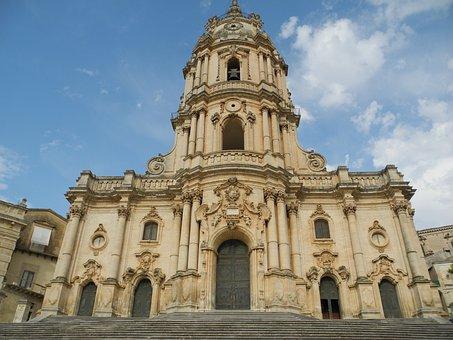 Modica, Sicily, Church, Italy, Duomo Di San Giorgio