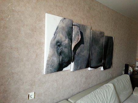 Modular Painting, Elephant, Animals