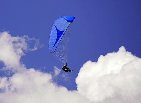 Paraglider, Blue-in-blue, Sky, Clouds, Paragliding