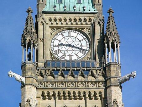 Parliament Hill, Clock, Tower, Ottawa, Canada