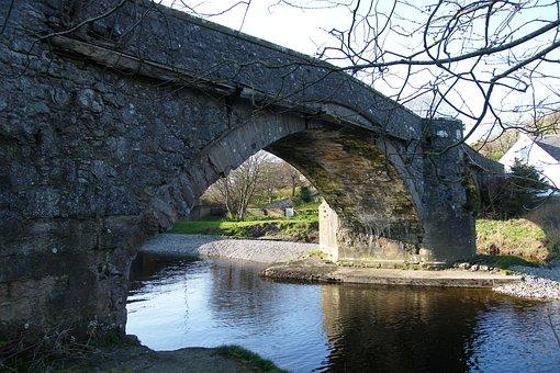 Scotland, Ballantrae Old Bridge, River, Reflection