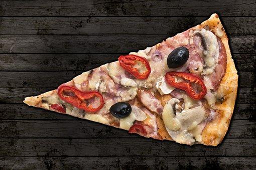 Pizza, Slice Of Pizza, Slice, Ham, Cheese, Top View