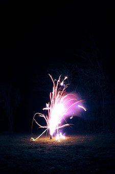 Firework, Fountain, Explosion, Light, Fire, Sparkle