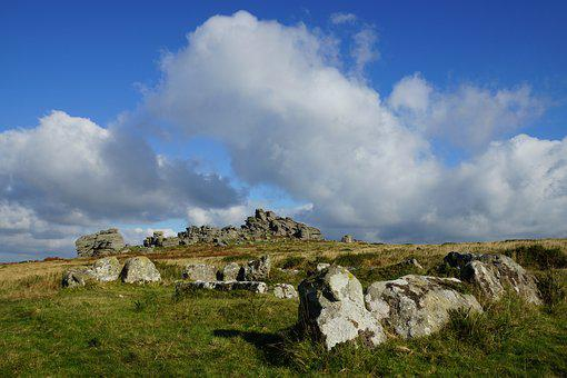 Dartmoor, Ancient Stone Circle, Clouds, Cistvaen