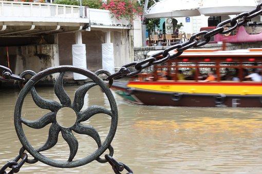 Singapore, River, Boat, Asia, City, Cityscape