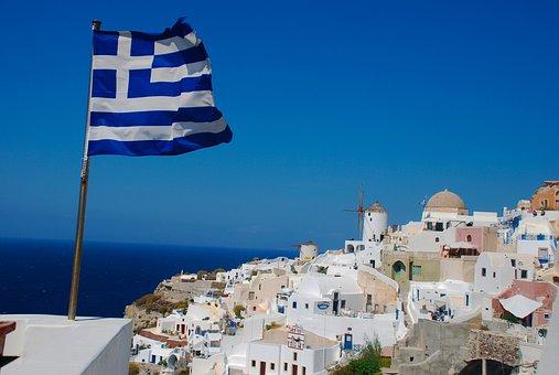 Santorini, Greece, Flag, Greek, Island, Travel, Europe