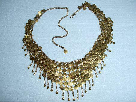 Necklace, Jablonec, Gold, Fashion
