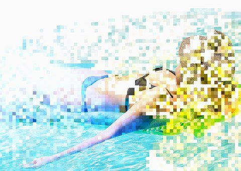 Woman, Water, Pool, Collage, Double Exposure, Pixels