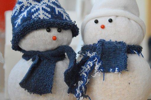 Snowman, Mascot, Zokniból, Creative, Idea, Recycling