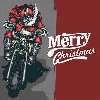 Christmas, Motorcycle, Santaclous, Flyer, Poster, Natal