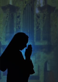 Silhouette, Nun, Religious Sister, Prayer, Faith, Hands