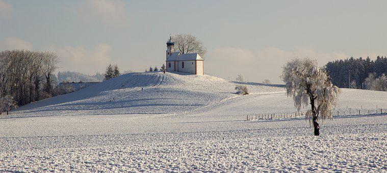 Panorama, Winter, Chapel, Upper Swabia, Snow, View
