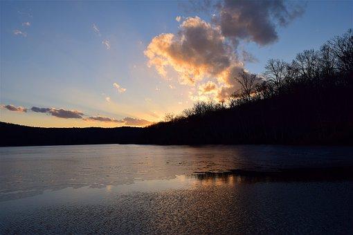 Sunset, Lake, Frozen, Winter, Sky, Water, Nature