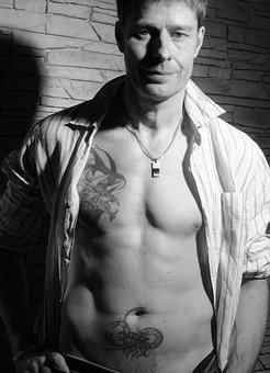 Man, Portrait, Tattoos, Sexy, Body, Tattooed, Muscles