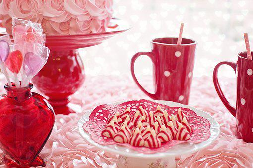 Valentine's Day, Cake, Pink, Red, Mugs, Hot Chocolate