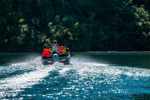 Boat, Rhône, River, Wake, Beaucaire, France, Trees
