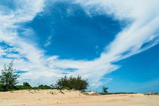 Sand Dunes, White Cloud, Blue Skies, Small Shrubs