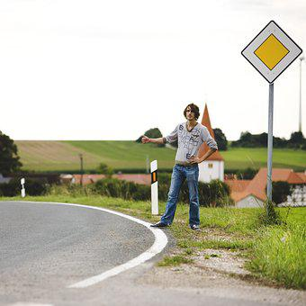 Hitchhiker, Auto Stop, Young Man, Pickup