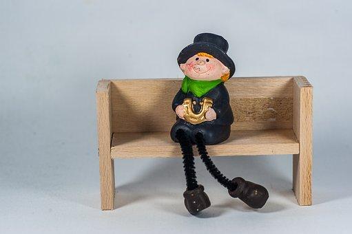 Wooden Bench, Chimney Sweep, Horseshoe, Hat, Sitting