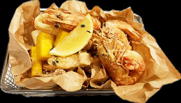 Food, Fried Dishes, Shrimp Tempura, Crunchy Fries
