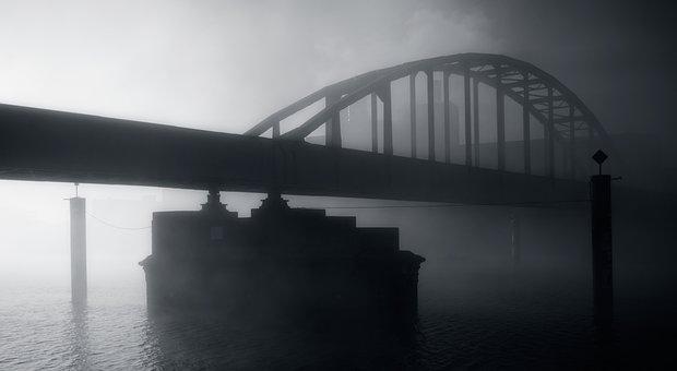 Bridge, Water, River, Against Light, Fog, Maastricht