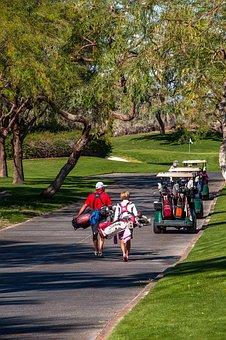 Golfers, Golf Carts, Pathway, Driving Range, Golfing
