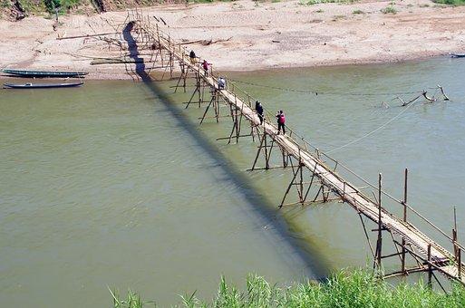 Laos, Luang Prabang, Bridge, Bamboo, Fragile