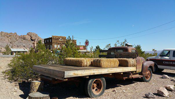 Flatbed Truck With Rust, Old Town Background