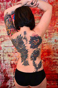 Tattoos, Ink, Skin, Back, Woman