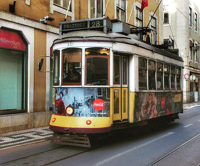 Tram, Lisbon, Portugal, Transport, Europe, Street