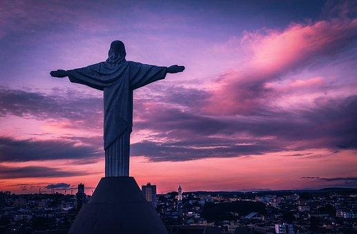Araxa, Mirante, Brazil, Sunrise, Statue, Jesus