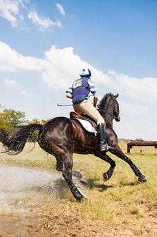 Horse And Rider Cornering At Speed, Water Jump
