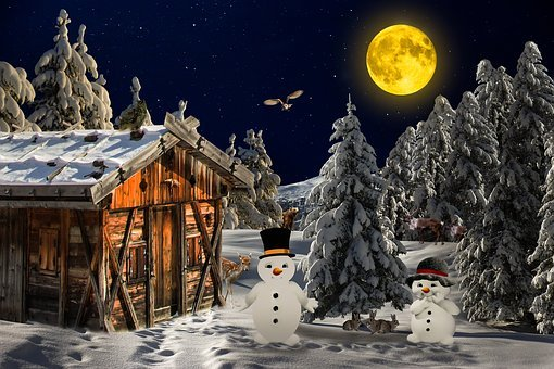 Winter, Landscape, Wintry, Trees, Cold, Snow, Snowman
