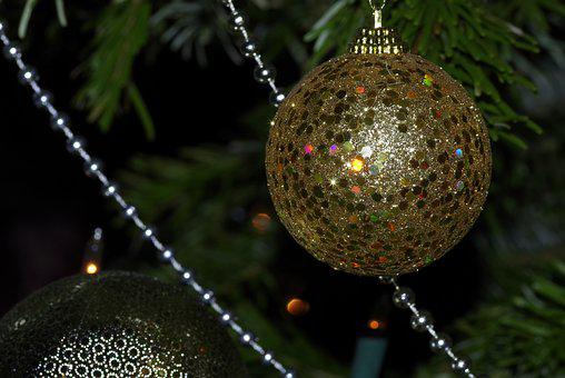 Bauble, Ornament, Christmas Tree, Gold