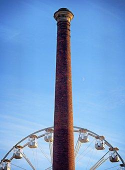 Chimney, Ferris, Wheel, Stack, Smoke, Phallic, Tall