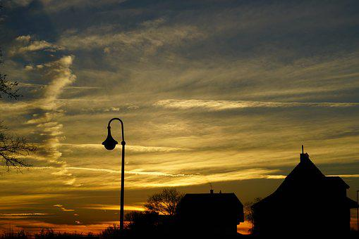 Abendstimmung, Sunset, Lamp, Lantern, Winter Mood, Cold