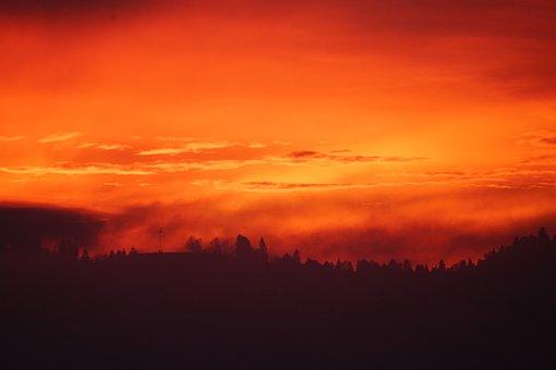 Sunset, Fog, Abendstimmung, Nebula Glow, Sky